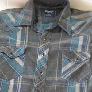 Vintage Wrangler Pearl-Snap Button_Down Shirt, M